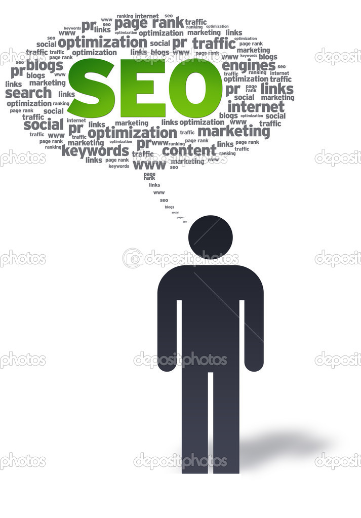 Paper man with SEO Speech bubble on white background.  — Stock Photo #6297888