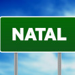 Royalty-Free Stock Photo: Green Road Sign - Natal