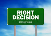 Green Road Sign - Right Decision — Stock Photo