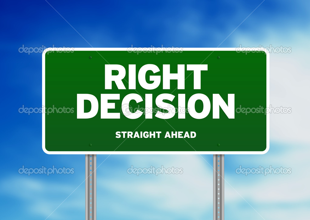 Green Right Decision Road sign on Cloud Background. — Stock Photo #6388152