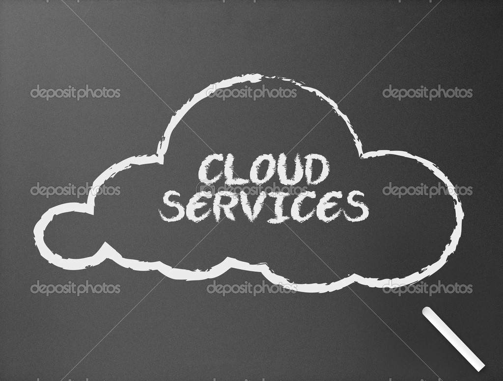 Dark chalkboard with a cloud service illustration.   Stock Photo #6443944