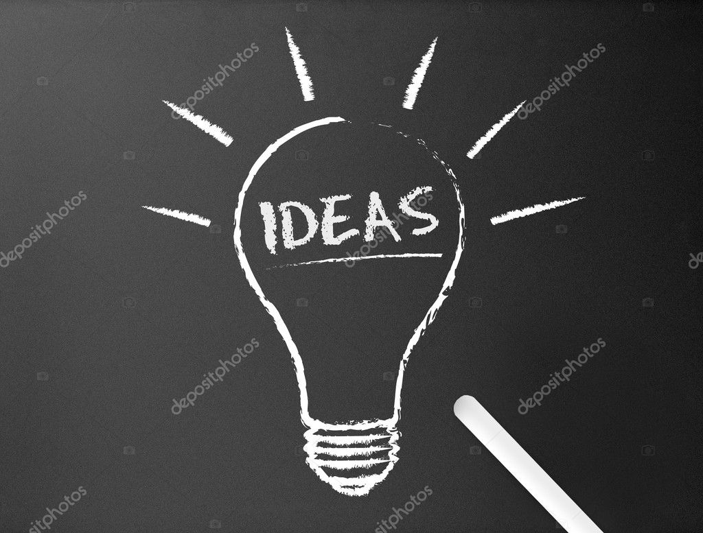 Dark chalkboard with a ideas light bulb illustration.  — Stock Photo #6446743