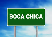 Green Road Sign - Boca Chica, Dominican Republic — Stock Photo