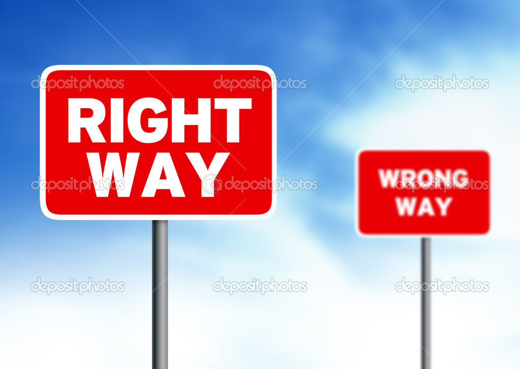 Red right way and wrong way street sign on cloud background. — Stock Photo #6526392