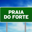 Stock Photo: Green Road Sign - Praido Forte, Brazil