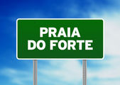 Green Road Sign - Praia do Forte, Brazil — Stock Photo