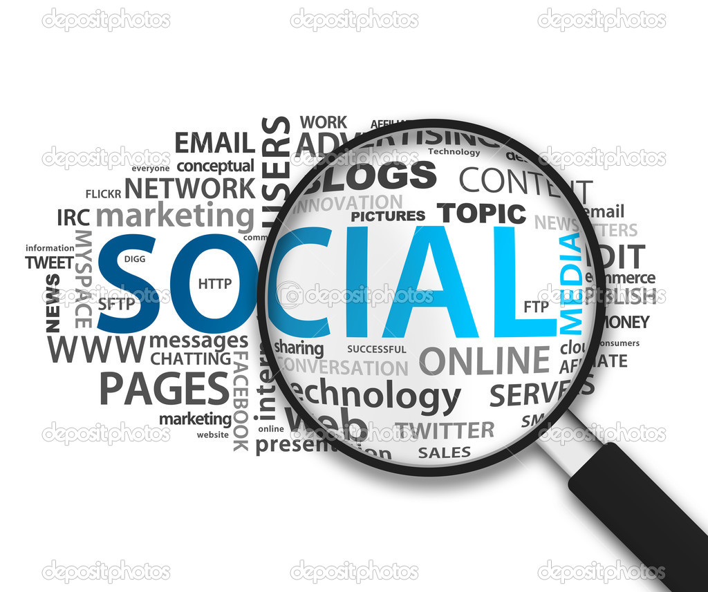 Magnified Social Network illustration on white background. — Stock Photo #6593510