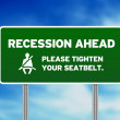 Green Road Sign - Recession Ahead - Stock Photo