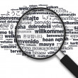 Magnifying Glass - Welcome in different languages — Foto de Stock