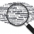 Magnifying Glass - Welcome in different languages - Stock Photo
