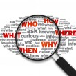 Magnifying Glass - What, who, how, where, when, why — Stock Photo