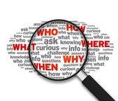 放大镜-什么、 谁、 如何、 哪里,何时,为什么 — 图库照片