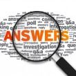 Magnifying Glass - Answers — Stock Photo