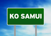 Green Road Sign - Ko Samui, Thailand — Stock Photo