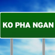 Green Road Sign - Ko Pha Ngan, Thailand - Stock Photo