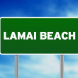 Green Road Sign - Lamai Beach, Thailand — Stock Photo