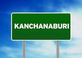 Letrero verde - kanchanaburi, Tailandia — Foto de Stock