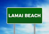 Green Road Sign - Lamai Beach, Thailand — Foto de Stock