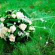 Bouquet of roses on green grass — Stock Photo #5959018