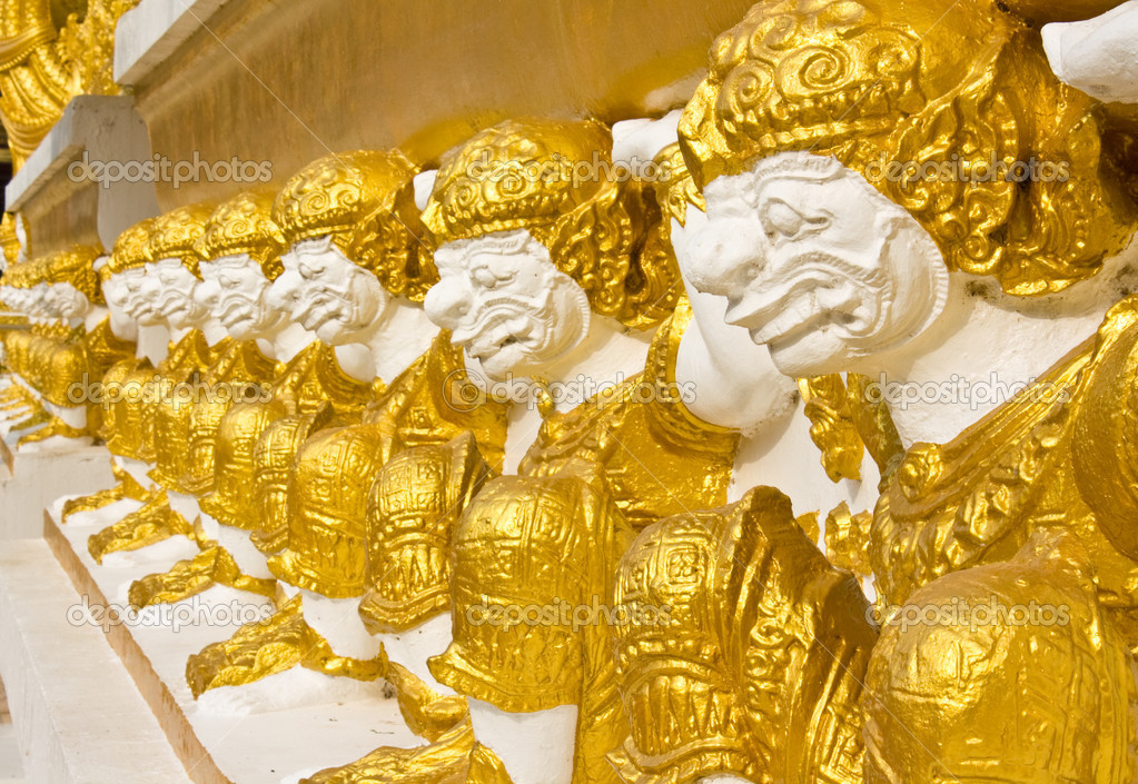 Thai giants sculpture sitting and carrying on the back  Stock Photo #5968504
