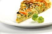 Detail řezu zeleninový koláč — Stock fotografie