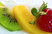 Cake with Strawberry Kiwi and Orange — Stock Photo