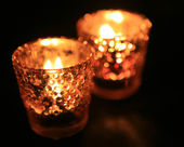 Candle in dark room — Stock Photo