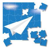 Beyaz origami uçak uçuyor. bulmaca — Stok fotoğraf