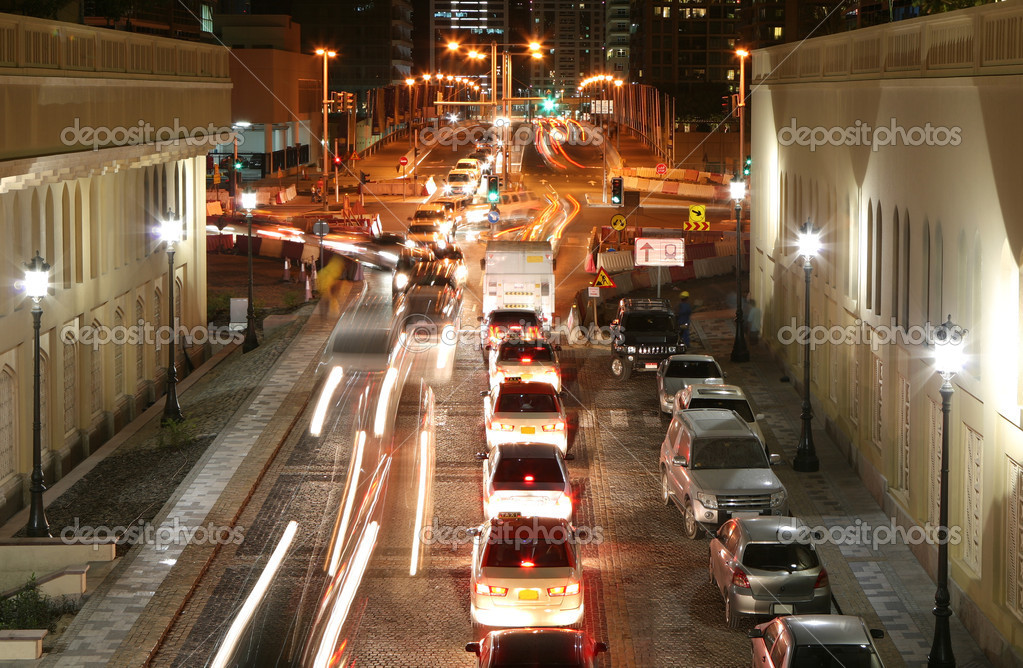 Traffic in the night city with motion blur — Stock Photo #6338773