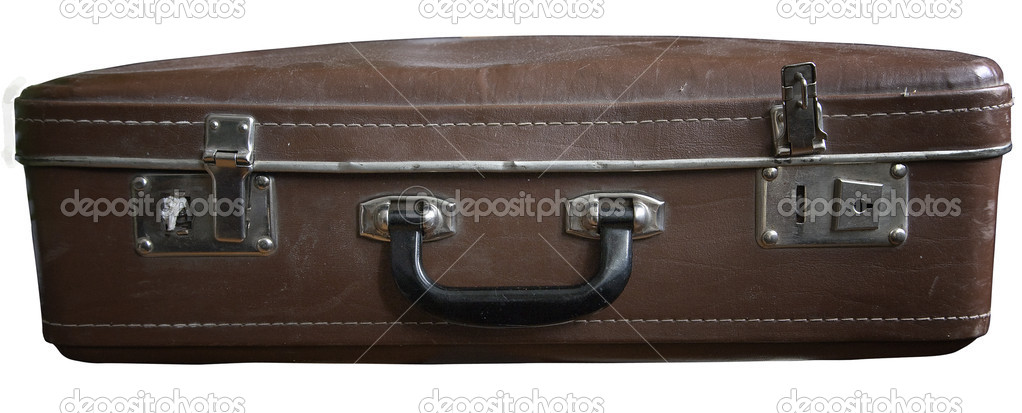 Old dusty retro suitcase isolated on white background — Photo #6356017