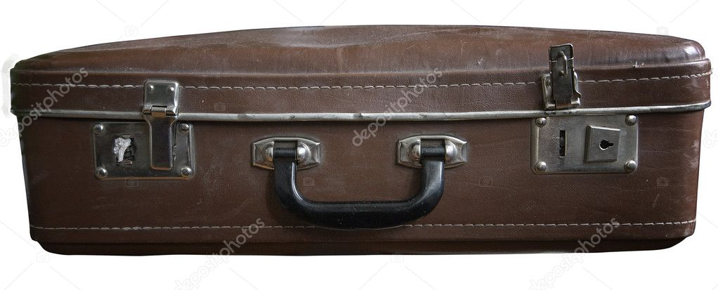 Old dusty retro suitcase isolated on white background  Zdjcie stockowe #6356017