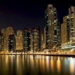 Town scape at night time. Panoramic scene, Dubai. — Stock Photo