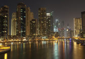 Town scape at night time. Panoramic scene, Dubai. — Stock Photo