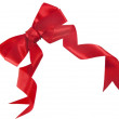 Red satin gift bow — Stock Photo