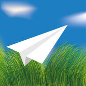 Avion origami blanc de vecteur volant — Vecteur