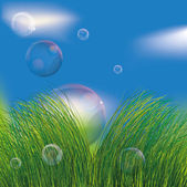 Bubbles in the grass — Stock Vector