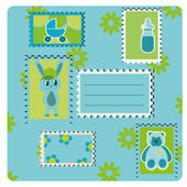 Greeting card with many stamps — Stock Vector