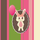Gratulationskort med söta kaninen — Stockvektor