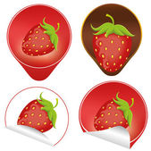 Label with strawberry — Stockvector