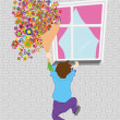 Royalty-Free Stock Vector Image: Vector man with bunch of flowers