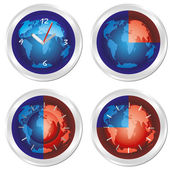 Clock set. World time — Stock Vector