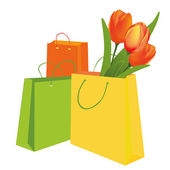 Tulips in the shopping bag — 图库矢量图片