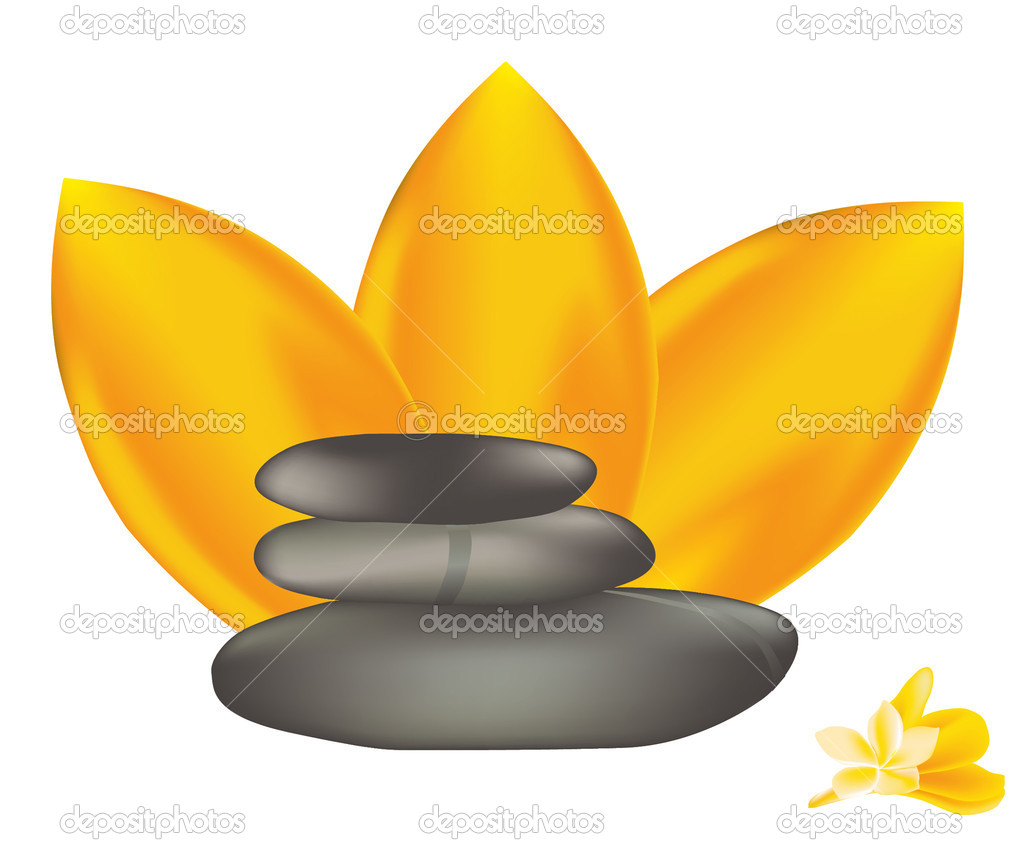 Vector spa stones with frangipani.  Stock Vector #6530119