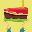 Hands holding a large birthday chocolate cake — Image vectorielle