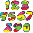 Colorful cartoon numbers set — Stock Vector