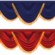 Vector blue and red  curtains - Stock Vector