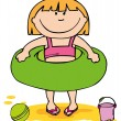 Stock Vector: Little girl on beach