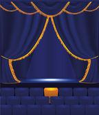 空のホールを持つベクトル青いカーテン — ストックベクタ