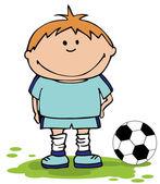 サッカー少年。サッカーの背景 — ストックベクタ