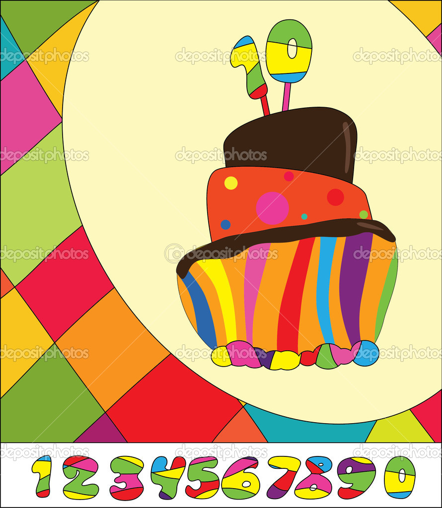 Numbers for  Birthday Cake. Greeting card  Stock Vector #6571918